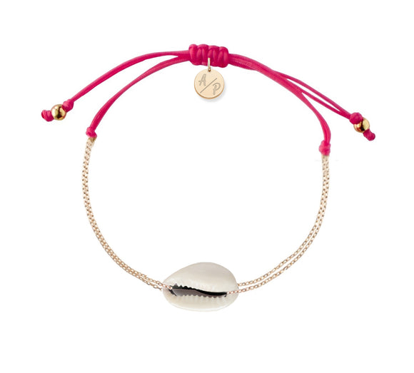 Mini Natural Shell Chain Bracelet - Gold/Magenta