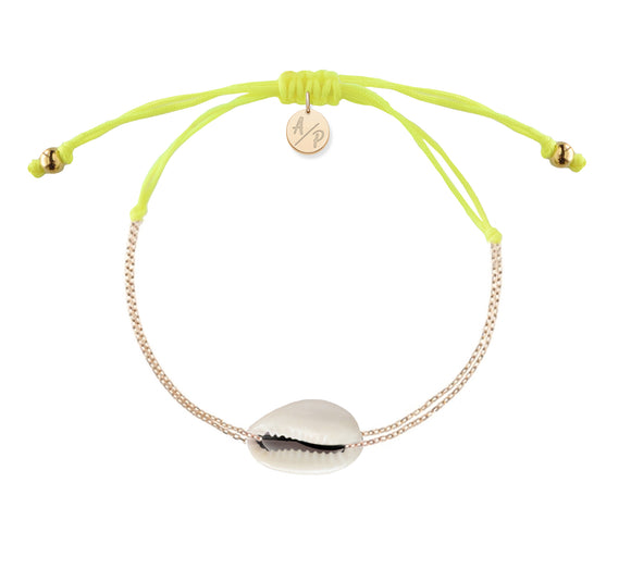 Mini Natural Shell Chain Bracelet - Gold/Neon Yellow
