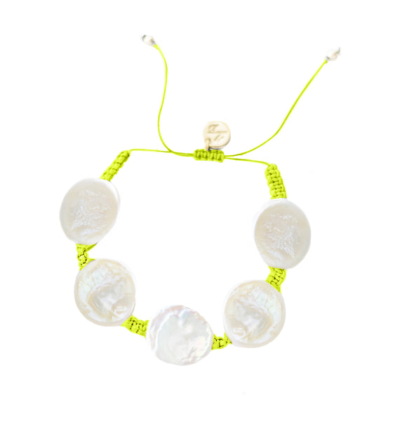Coin Pearl Bracelet -Neon Yellow Cord