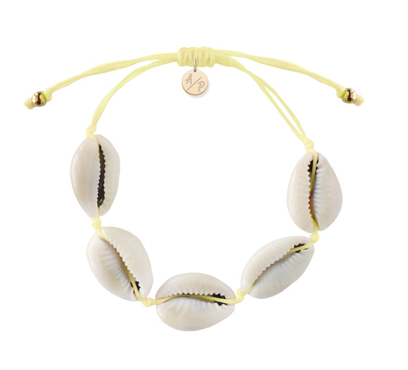 Natural Shell Adjustable Bracelet - Pastel Yellow