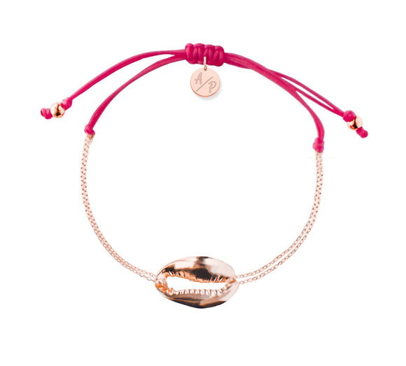 Mini Metal Shell Chain Bracelet - Rose/Magenta