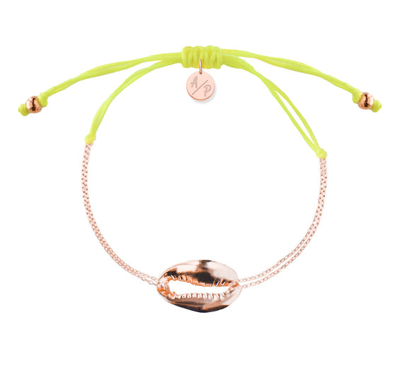 Mini Metal Shell Chain Bracelet - Rose/Neon Yellow