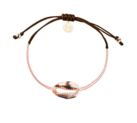 Mini Metal Shell Chain Bracelet - Rose/Brown