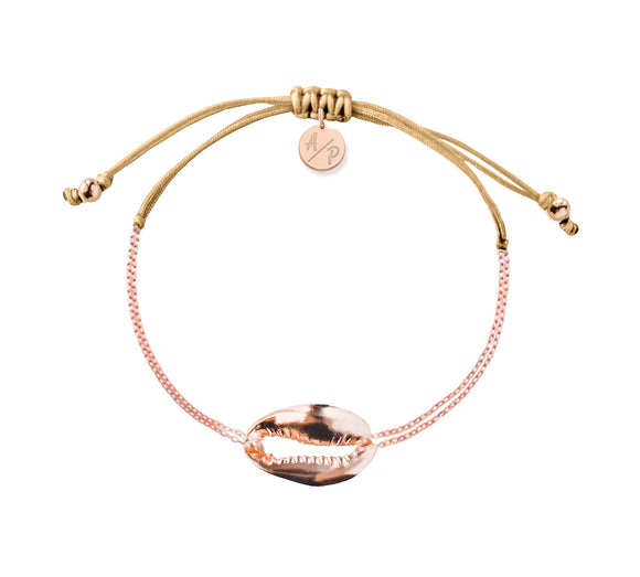 Mini Metal Shell Chain Bracelet - Rose/Caramel
