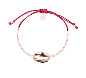Mini Metal Shell Chain Bracelet - Rose/Cranberry