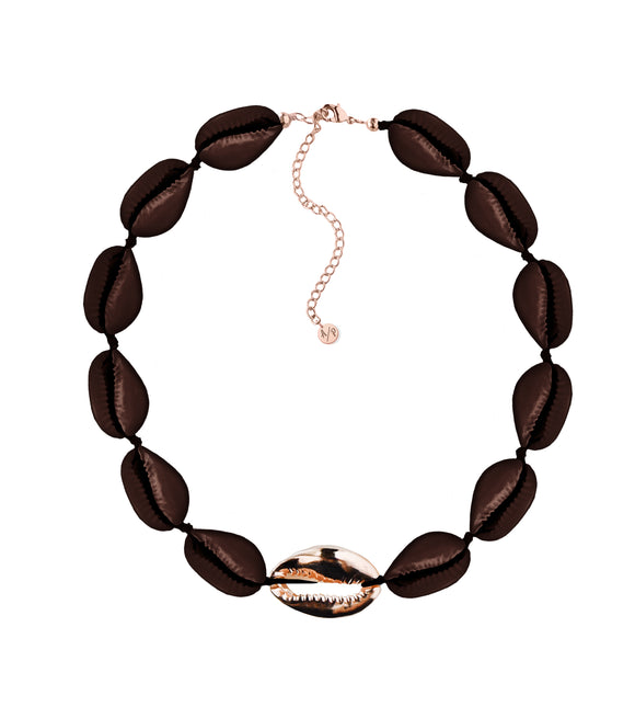 Metal Shell Accent Choker - Shiny Brown/14k Rose Gold