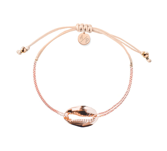 Mini Metal Shell Chain Bracelet - Rose/Light Peach