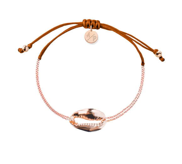 Mini Metal Shell Chain Bracelet - Rose/Pumpkin Spice