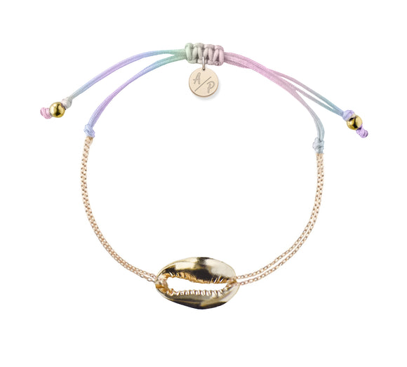 Mini Metal Shell Chain Bracelet - Gold/Pastel Tie Dye