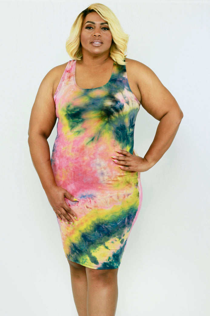 Sunkiss Watermelon Tie Dye Dress - Almond Milk Collection