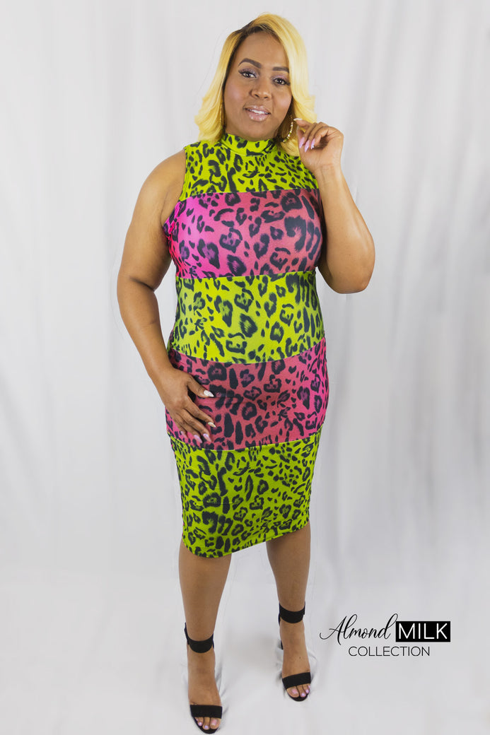 Crazy Cheetah Dress - Almond Milk Collection