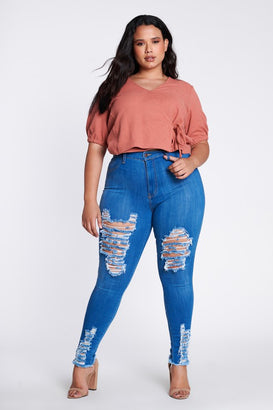 Almond Milk Distressed Skinny Jeans - Almond Milk Collection