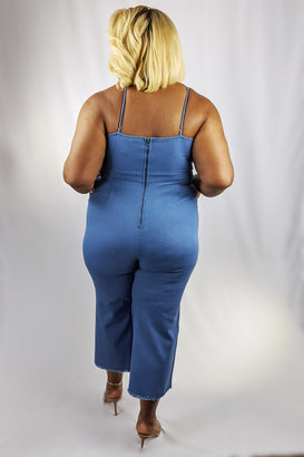 Vacation Ready Denim Jumpsuit - Almond Milk Collection