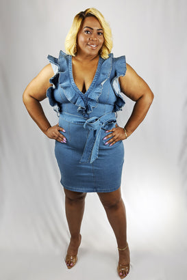 I Love Ruffles Denim Mini Dress - Almond Milk Collection