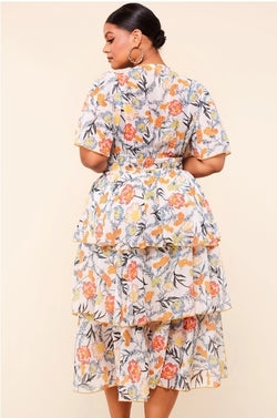 Bohemian Floral Dress - Almond Milk Collection