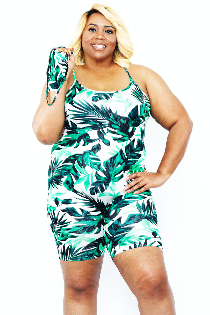 Palm Trees Romper W/ Mask - Almond Milk Collection