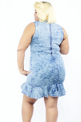 Denim Blues Mini Dress - Almond Milk Collection