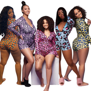 Ladies Night Leopard Onesie Bodysuit - Almond Milk Collection