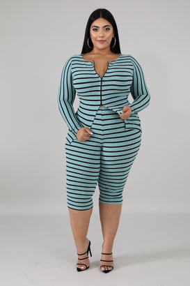 Take Me Too Bermuda Stripe Set - Almond Milk Collection