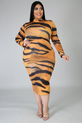 Going Wild Dress (Orange) - Almond Milk Collection