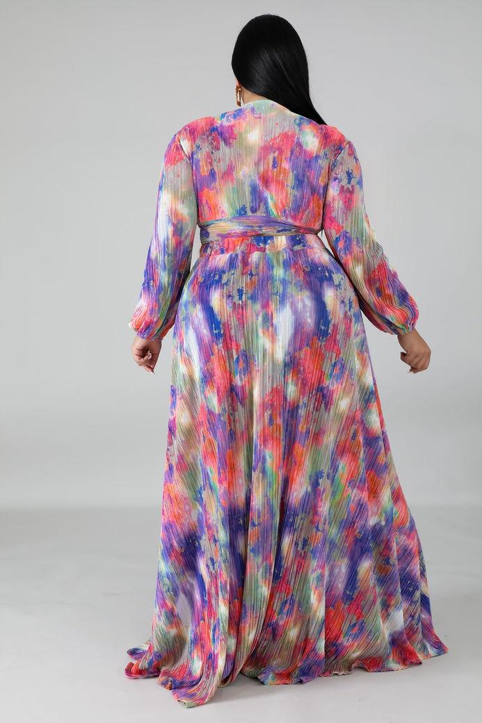 Tie Dye Pleated Maxi Dress - Almond Milk Collection