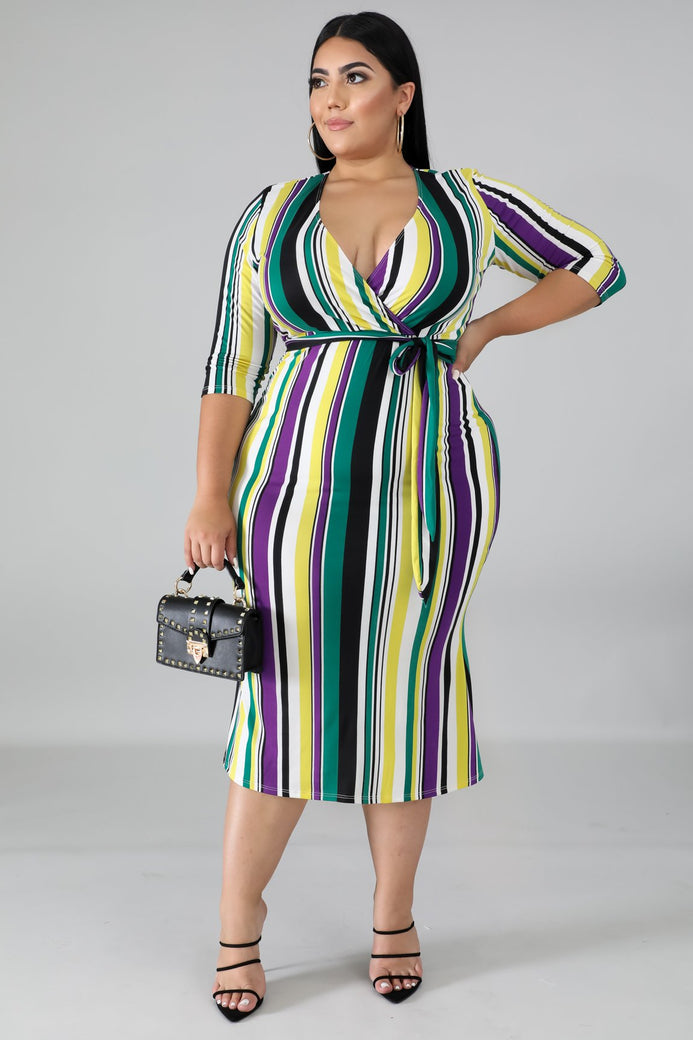Summer Time Midi Stripe Dress - Almond Milk Collection