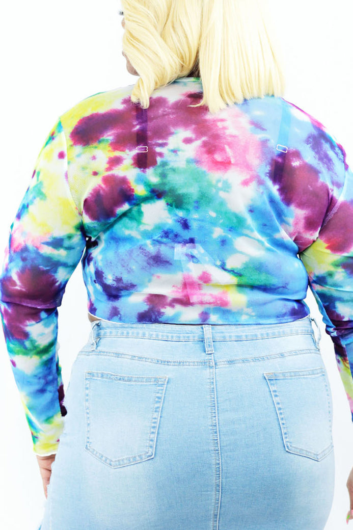 Kaleidoscope Tie Die Crop Top - Almond Milk Collection