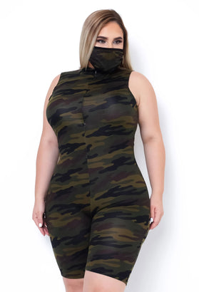 Ready For War Romper With Mask - Almond Milk Collection