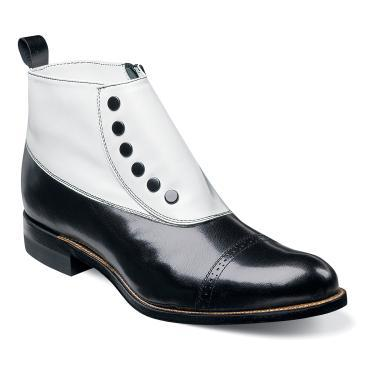 Stacy Adams Madison Demi Boot Leather Upper Leather Sole  Color - Black And White  SKU: 00026-111