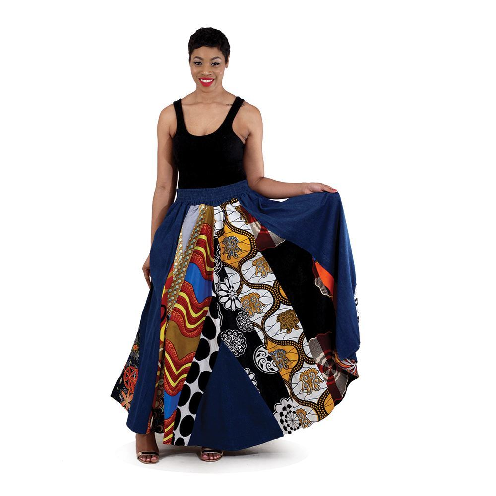 African Imports -  Mixed Print Denim Skirt  Assorted  SKU: C-WH101   ( One Size Fits All )