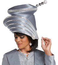 Load image into Gallery viewer, Donna Vinci Platinum Rhinestone Trimmed Hat - H11744
