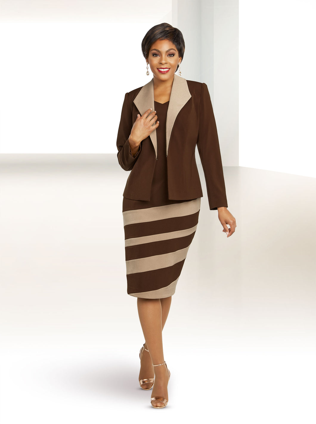 Ben Marc Executive Chocolate /Taupe 2 Pc Suit -11804