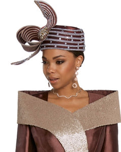 Donna Vinci Brown and Gold Hat - H11810