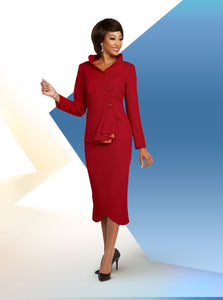 Ben Marc Executive Red 2pc Skirt Suit -11812