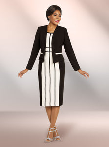 Ben Marc Executive Black and Off White 2pc Dress Suit -11814