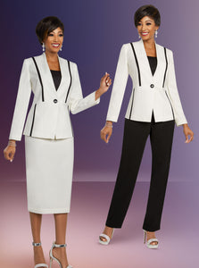 Ben Marc Executive Off White / Black 2 pc Suit (Skirt or Pants) -11819