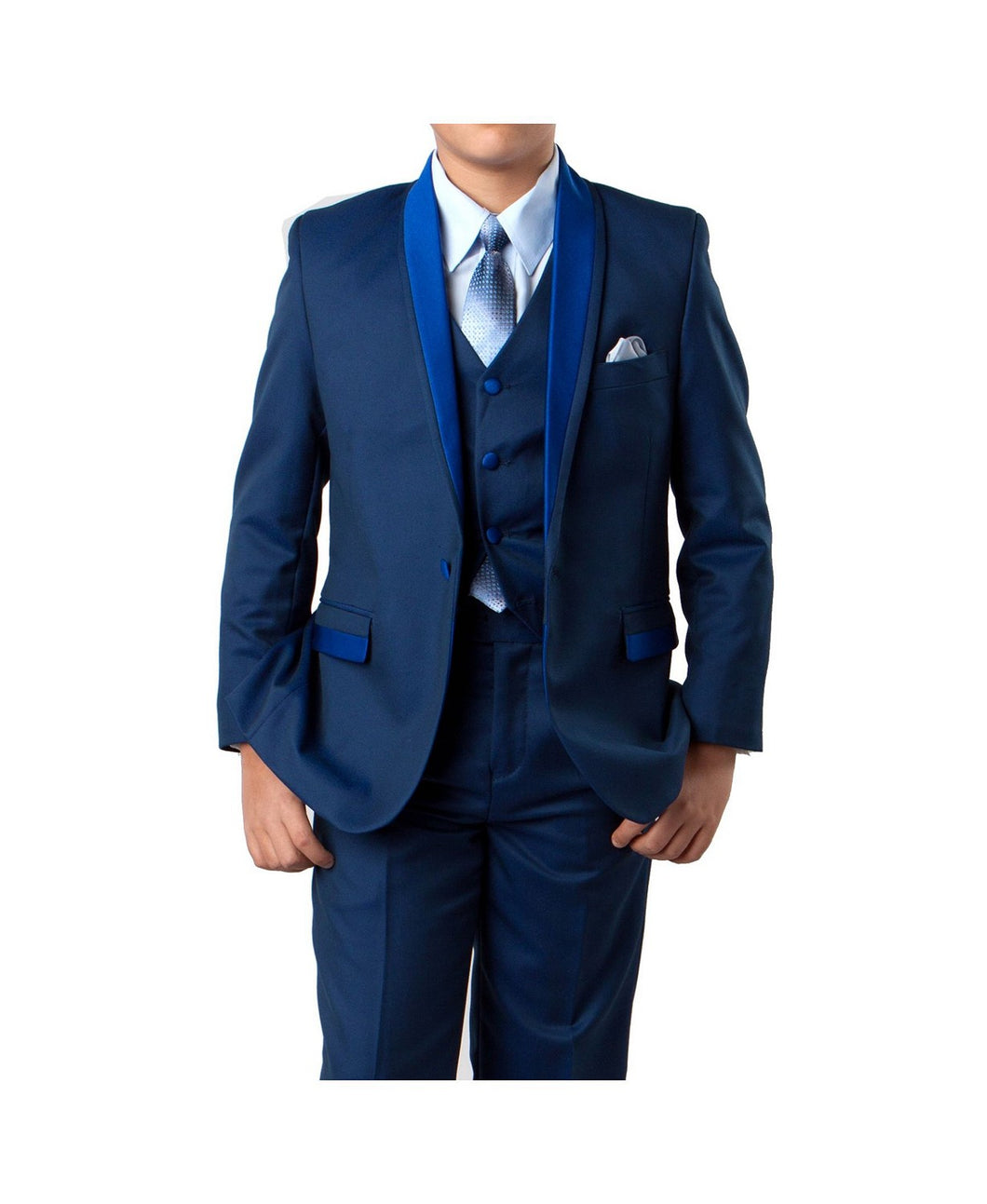 Braveman Satin Collar Little Boy's Suit  3 Piece With Shirt And Tie SKU: 008346 Color - Royal Blue Size- 5 Small