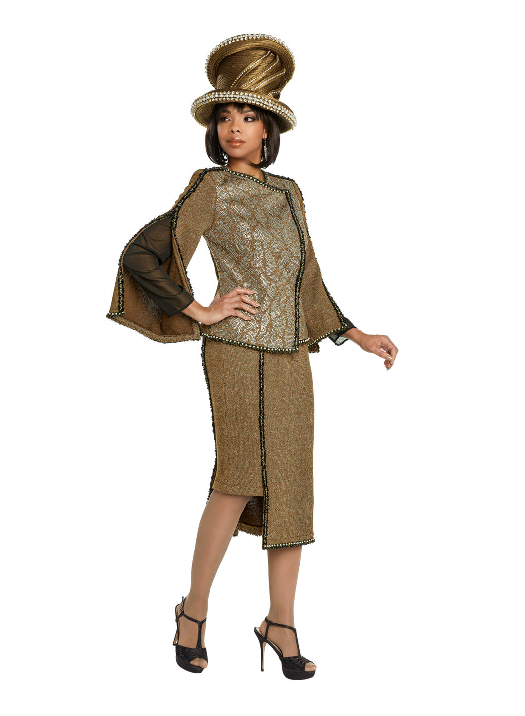 Donna Vinci Coffee Knit 2 piece Jacket and Skirt Set - 13264
