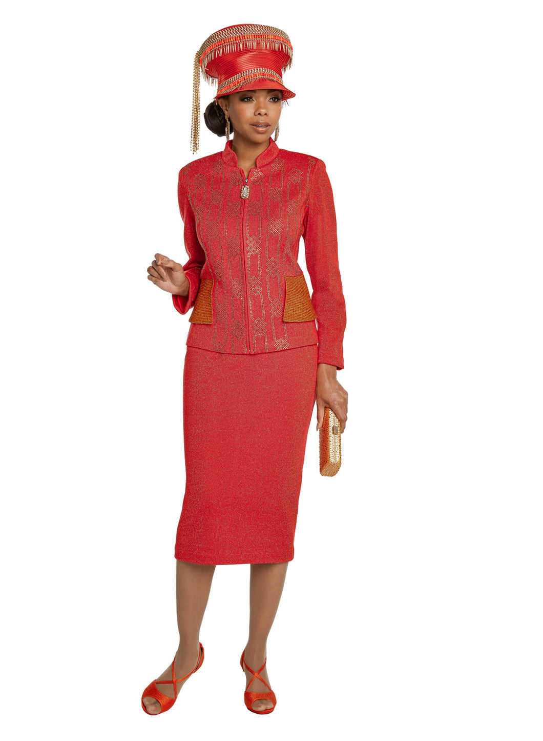 Donna Vinci Red Orange Knit 2 piece Jacket and Skirt Set - 13265