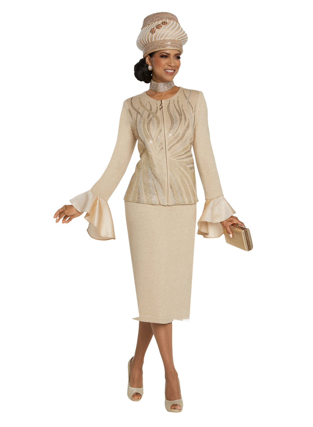 Donna Vinci Beige Knit 2 piece Jacket and Skirt Set - 13266