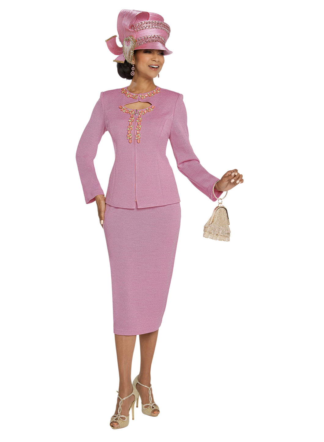 Donna Vinci Pink Knit 2 piece Jacket and Skirt Set - 13270
