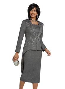 Donna Vinci Grey Knit 2 piece Jacket and Skirt Set - 13272