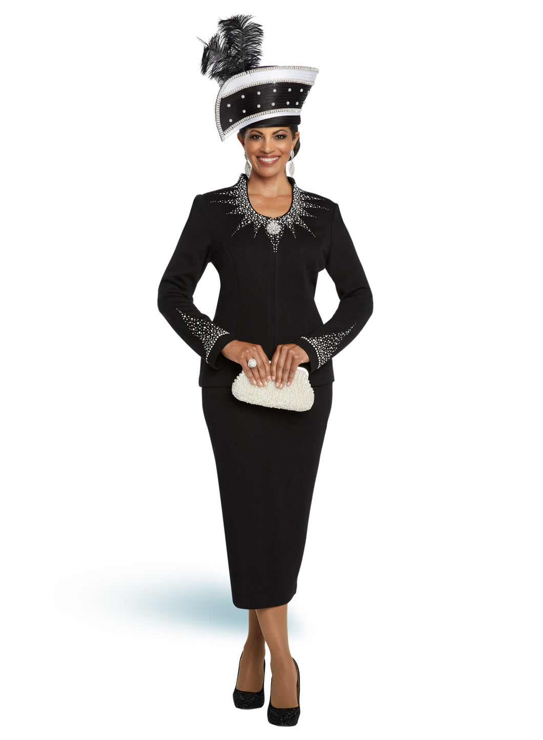 Donna Vinci Black and White Knit 2 piece Jacket and Skirt Set - 13273