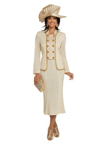 Donna Vinci Beige Gold Knit 2 piece Jacket and Skirt Set - 13277