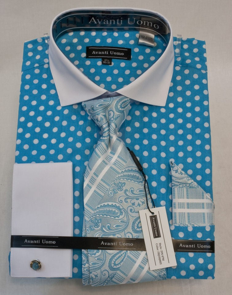 Avanti Uomo Fashion Dress Shirt Turquoise/White Polka Dots. DN47M