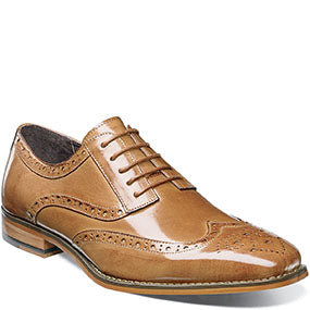 Stacy Adams Tinsley Wingtip Oxford Buffalo Leather Shoe Style: 25092-240  Color - Tan