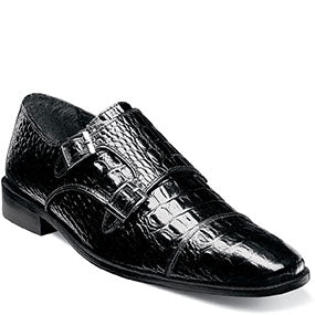 Stacy Adams Black Cap Toe Monk Strap