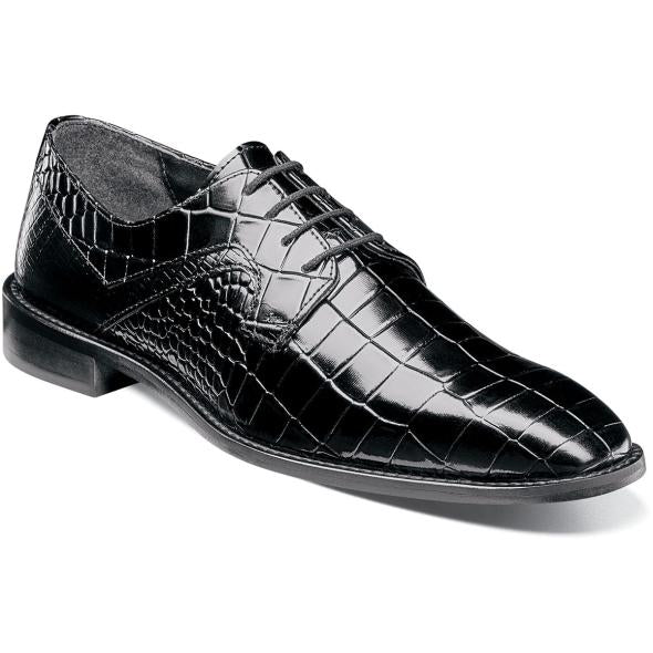 Stacy Adams - Madison Black Oxford Plain Toe Leather Upper Sole Reptile Embossed Feature