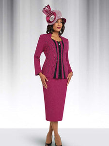 Ben Marc 48062 Womens Knit Skirt Suit With Embellished Striped Jacket