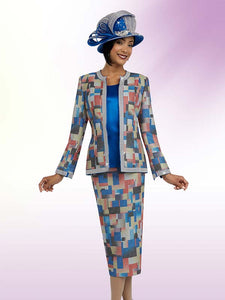 Ben Marc 48063 Three Piece Skirt Suit Wlth Multi Color Print